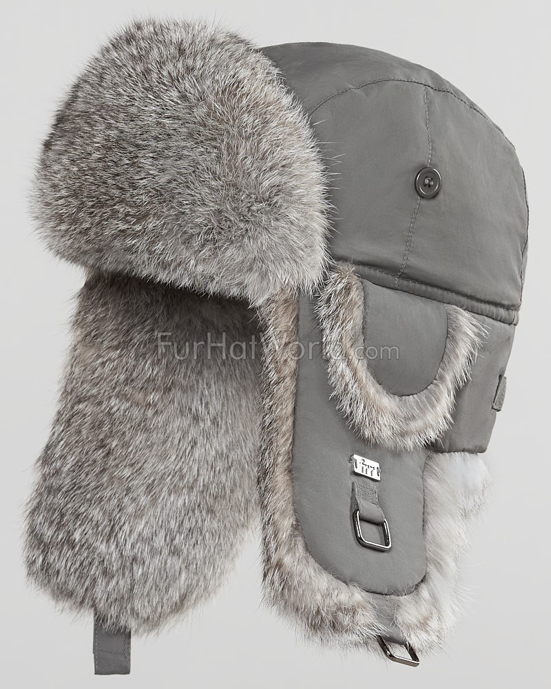 6751e672ddd Charcoal B-52 Aviator Hat with Natural Grey Rabbit Fur for Men