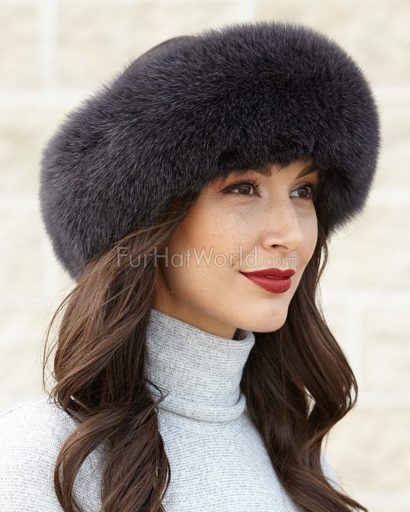 Charcoal Grey Fox Fur Headband