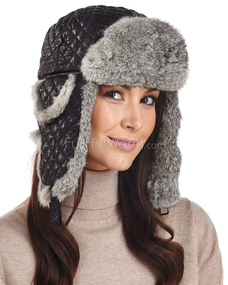 Womens Black Diamond Quilted Rabbit Fur Trapper