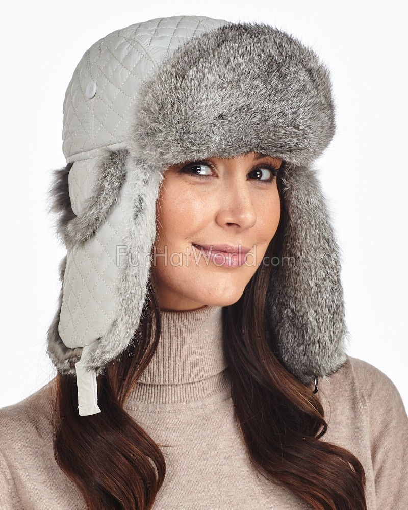 Snow White Diamond Quilted Rabbit Fur Trapper Hat