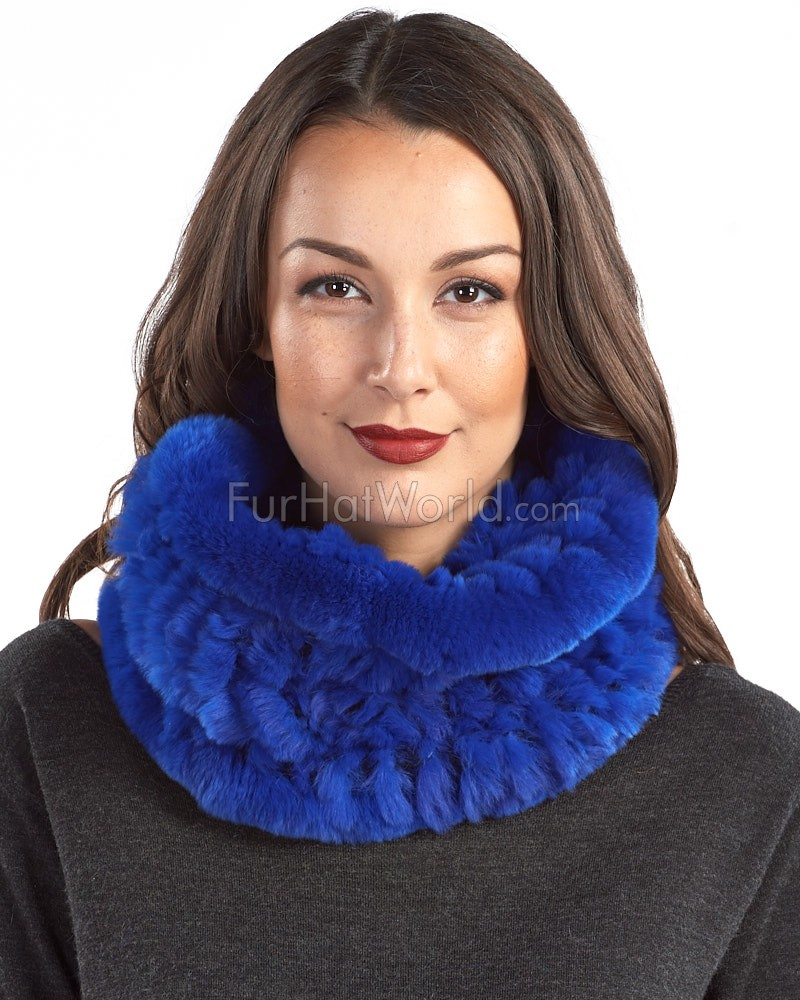 Christine Royal Blue Knitted Rex Rabbit Fur Snood Scarf