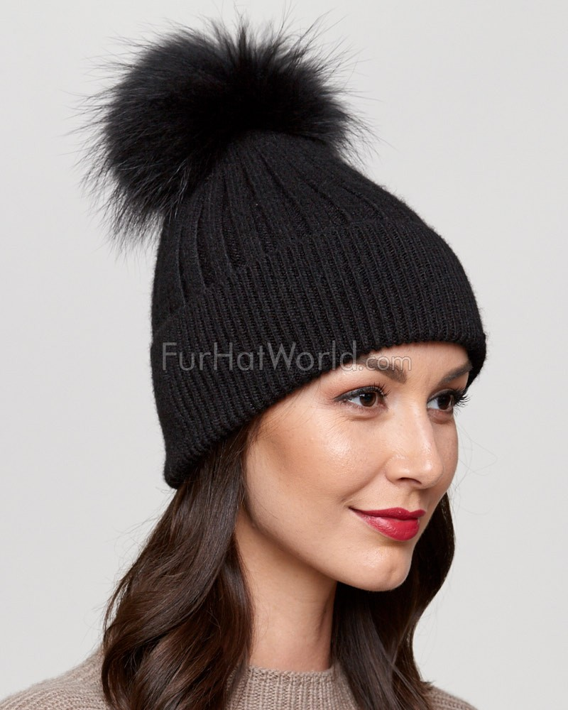83222d30a84 Coco Black Rib Knit Beanie Hat with Finn Raccoon Pom Pom ...