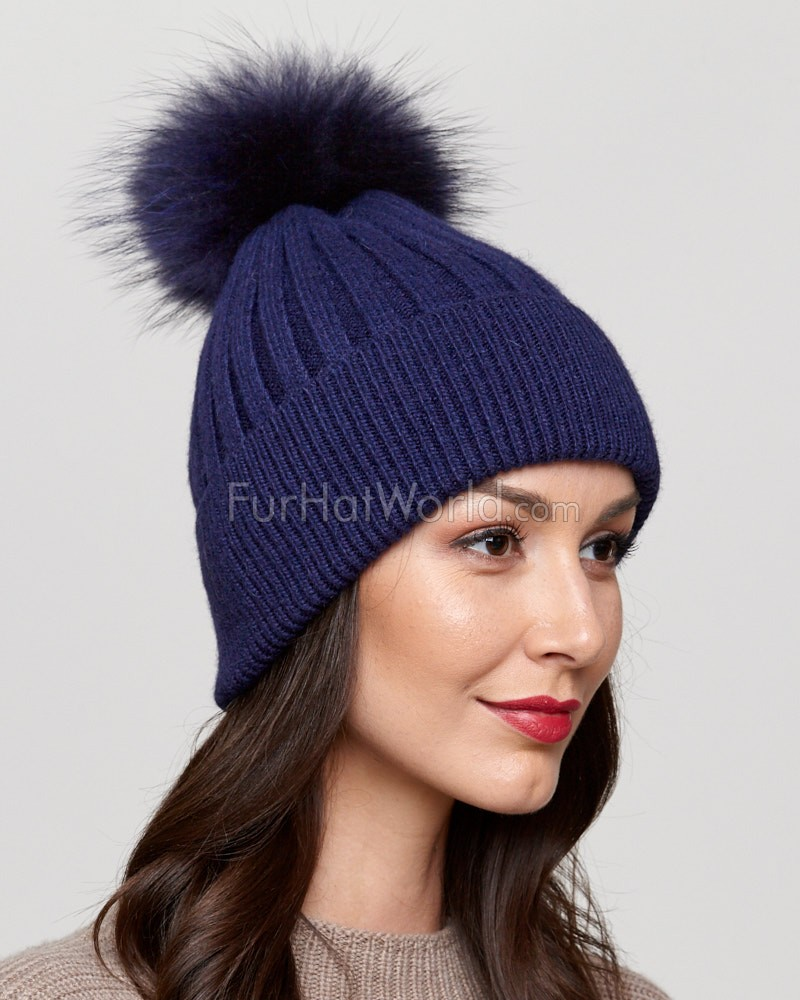 Coco Navy Rib Knit Beanie Hat with Finn Raccoon Pom Pom