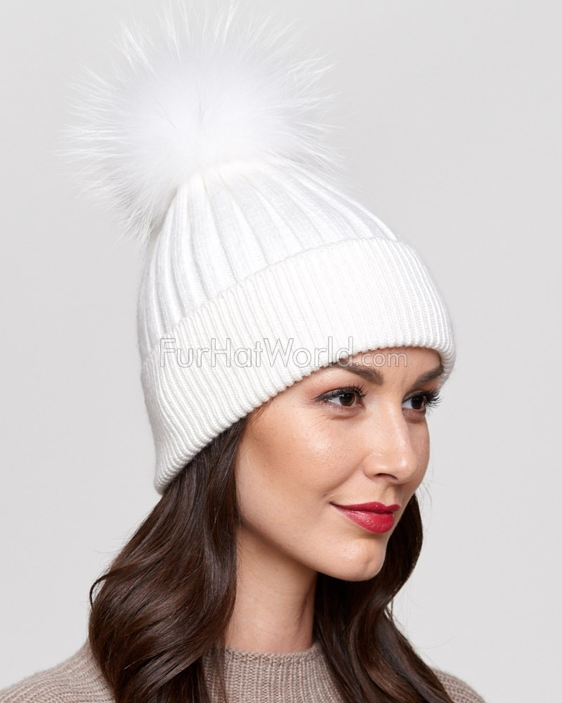 Coco White Rib Knit Beanie Hat with Finn Raccoon Pom Pom