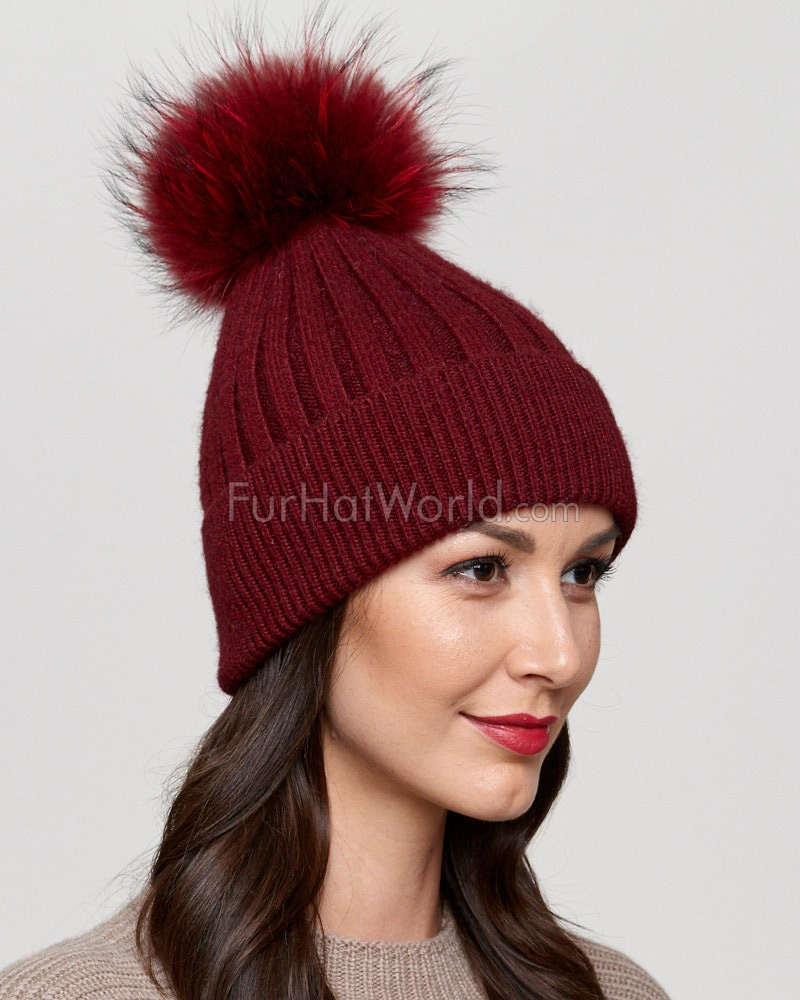 Coco Wine Rib Knit Beanie Hat with Finn Raccoon Pom Pom