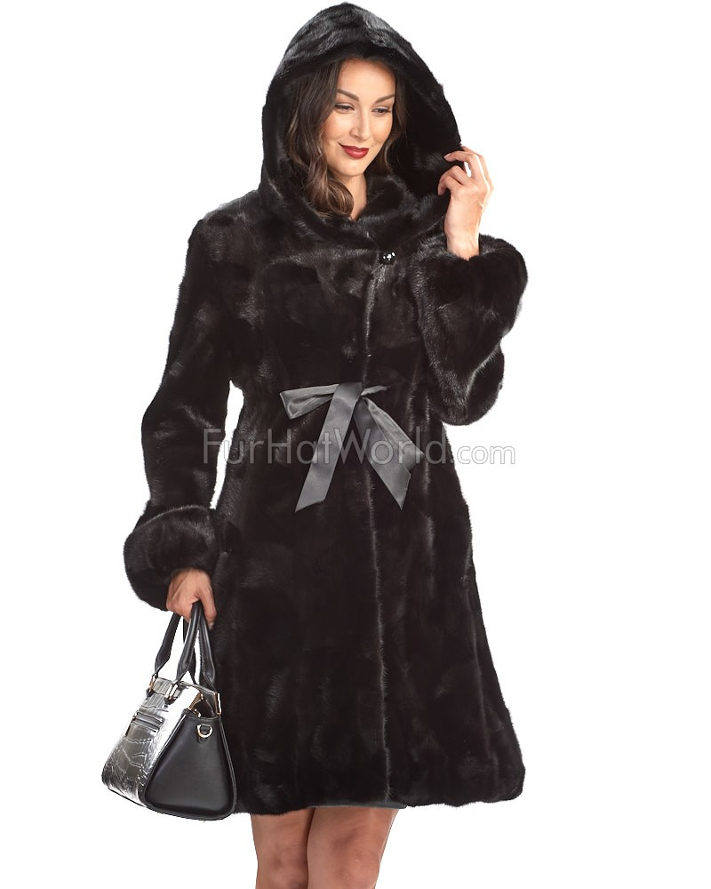 Collins Long Mink Coat with Hood in Black