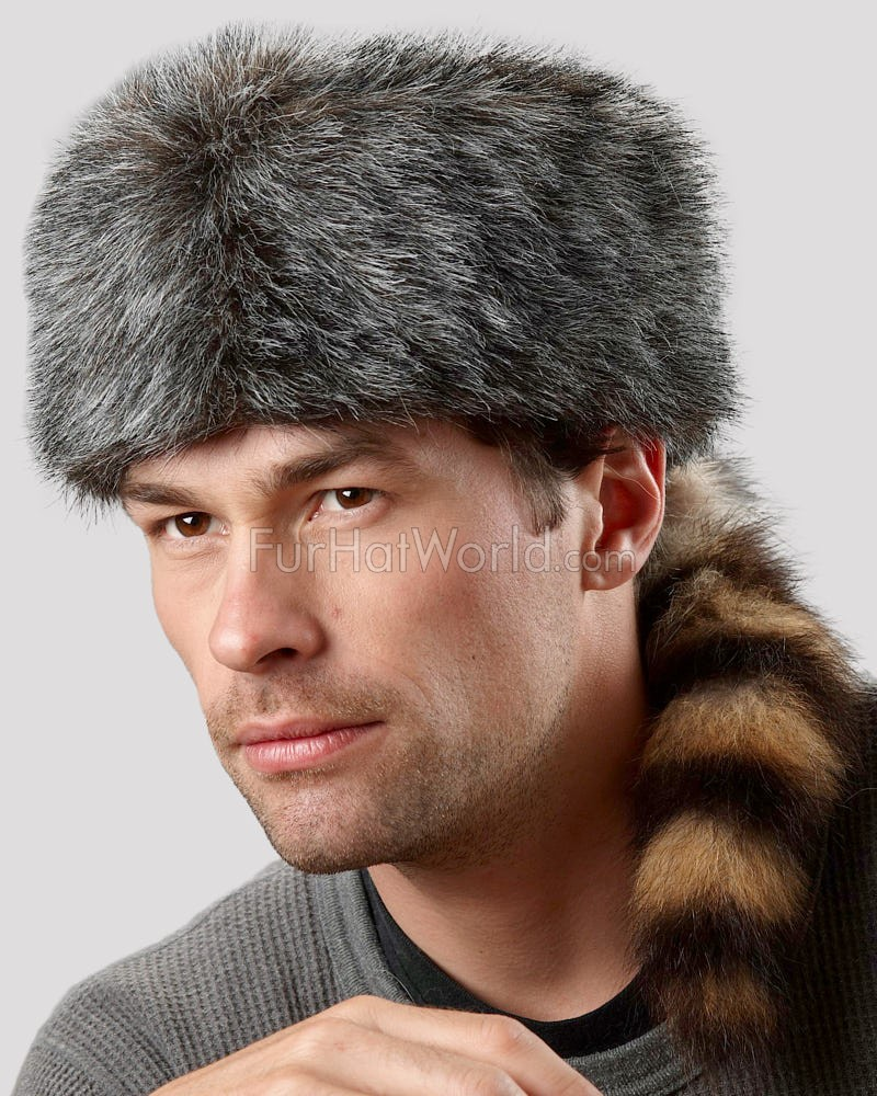 f7930020770c5 Faux Fur Coonskin Cap with Real Raccoon Tail for Men  FurHatWorld.com