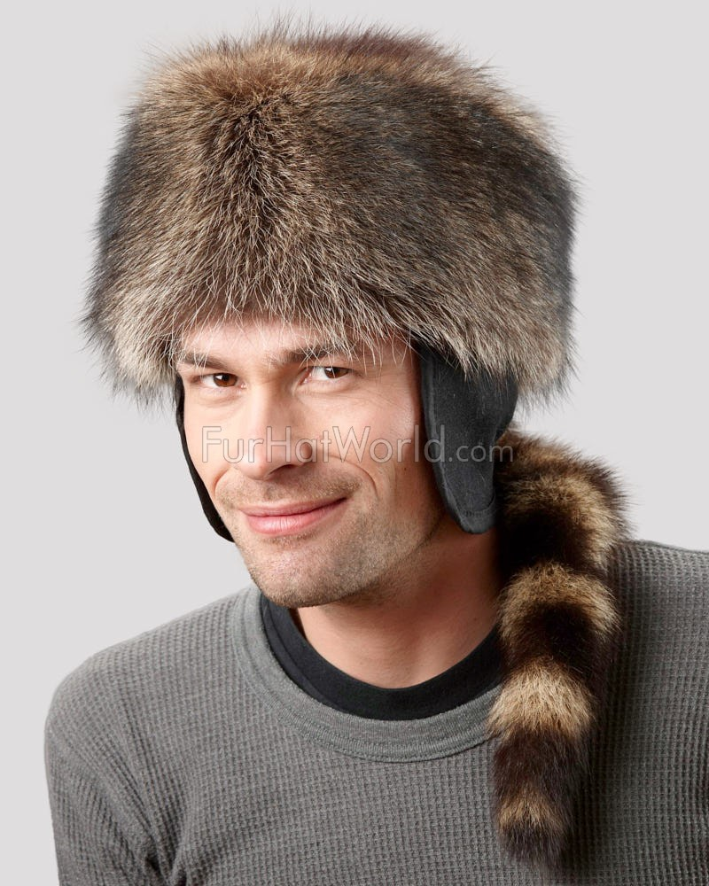 Raccoon Fur Coonskin Cap For Men: FurHatWorld.com