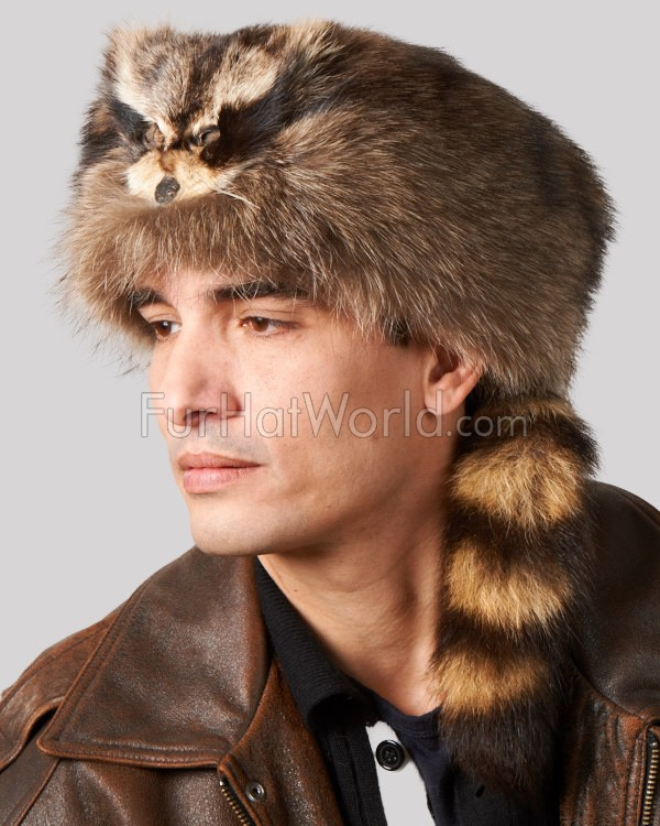 Coonskin Cap with Face - Raccoon Fur