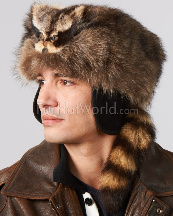 Raccoon Fur Coonskin Cap with Face: FurHatWorld.com