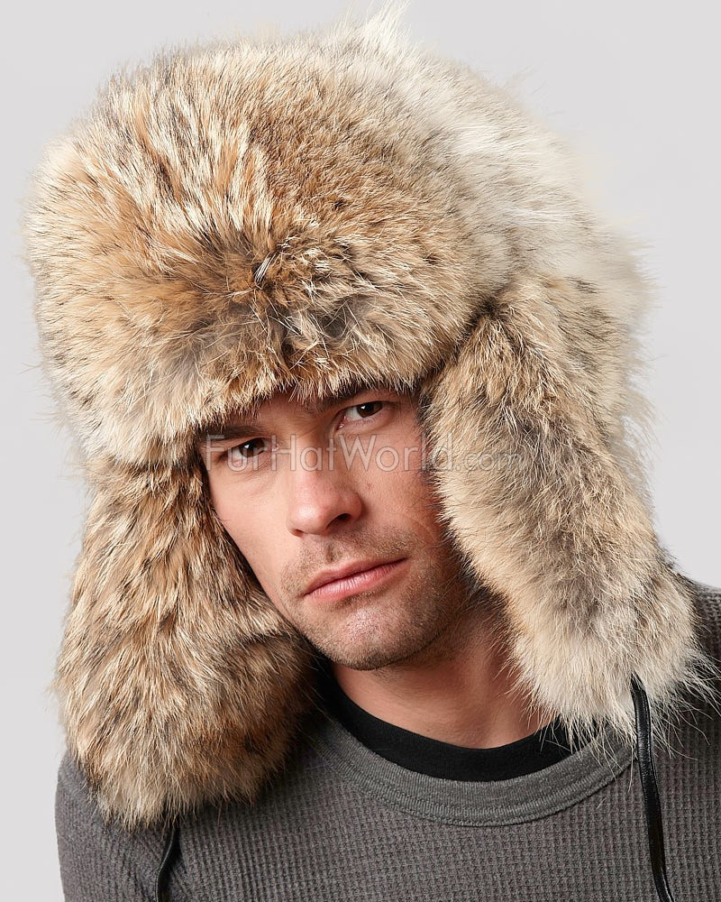Coyote Full Fur Russian Hat for Men