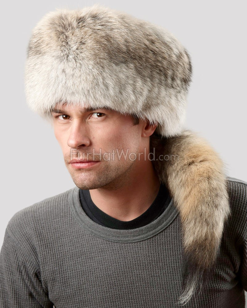 Coyote Fur Davy Crockett Hat for Men