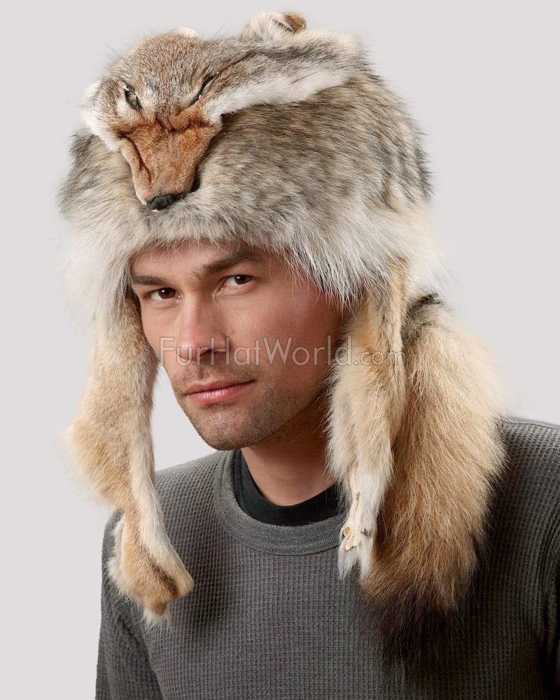 Coyote Fur Davy Crockett Men's Hat with Face & Legs