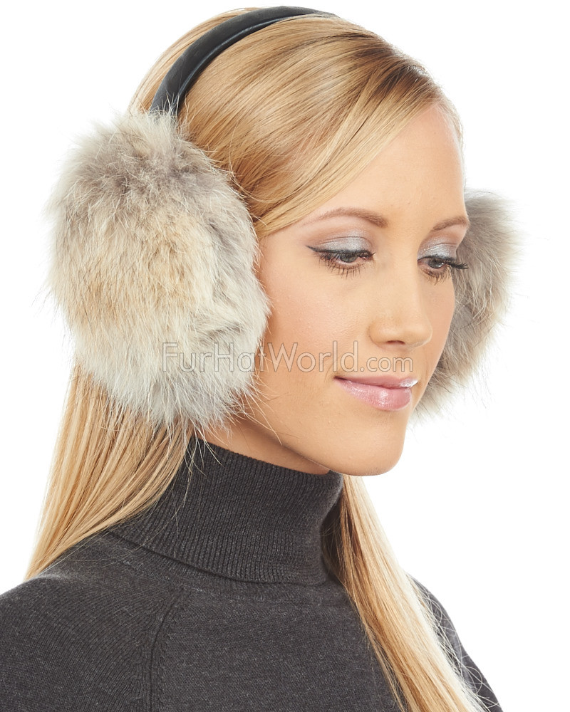 Coyote Fur Ear Muffs with Leather Band