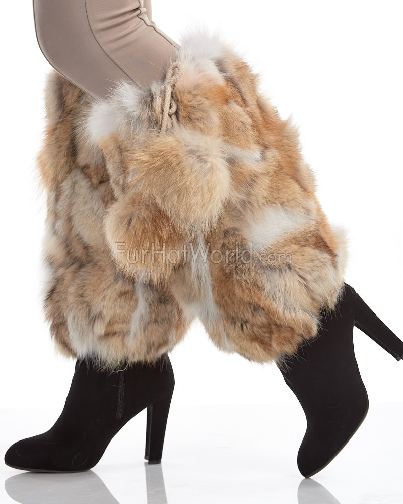 Coyote Fur Leg Warmers with Pom Poms