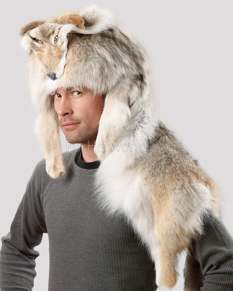 Coyote Fur Mountain Man Hat - Full Coyote Pelt