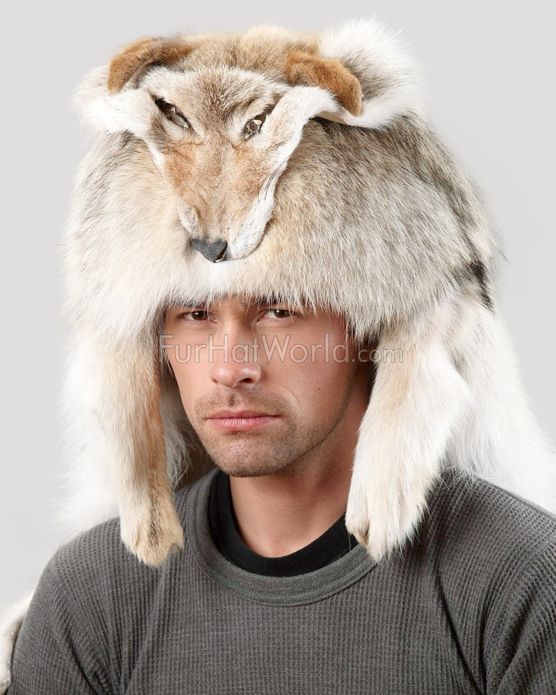 b9bb1d20354 Coyote Fur Mountain Man Hat for Men  FurHatWorld.com