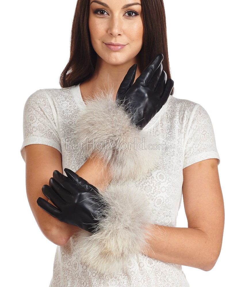 Coyote Fur Trim Leather Gloves - Cashmere Lined