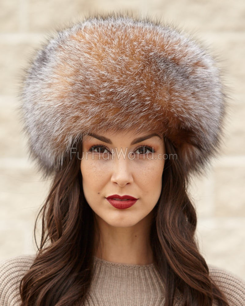 Crystal Fox All Fur Zhivago Pill Box Fur Hat