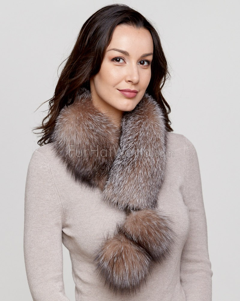 Crystal Fox Fur Collar with Pom Poms