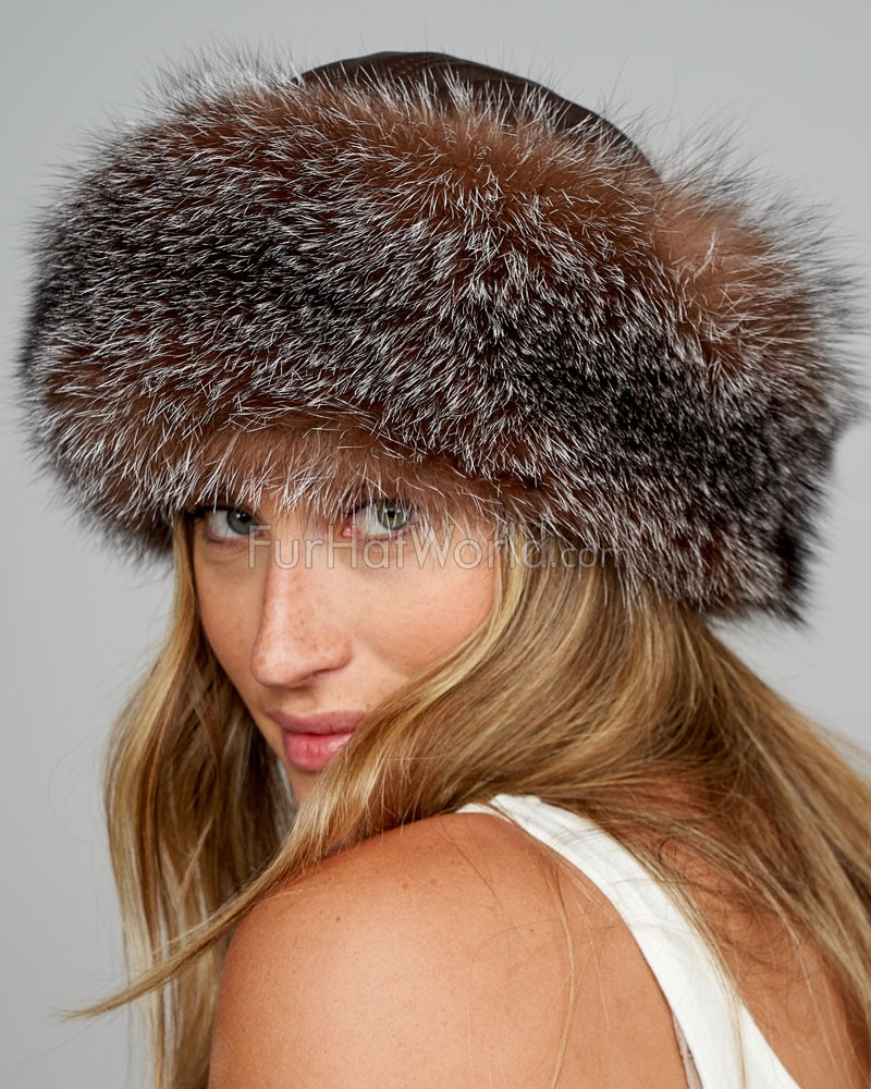Crystal Fox Fur Roller Hat with Leather Top