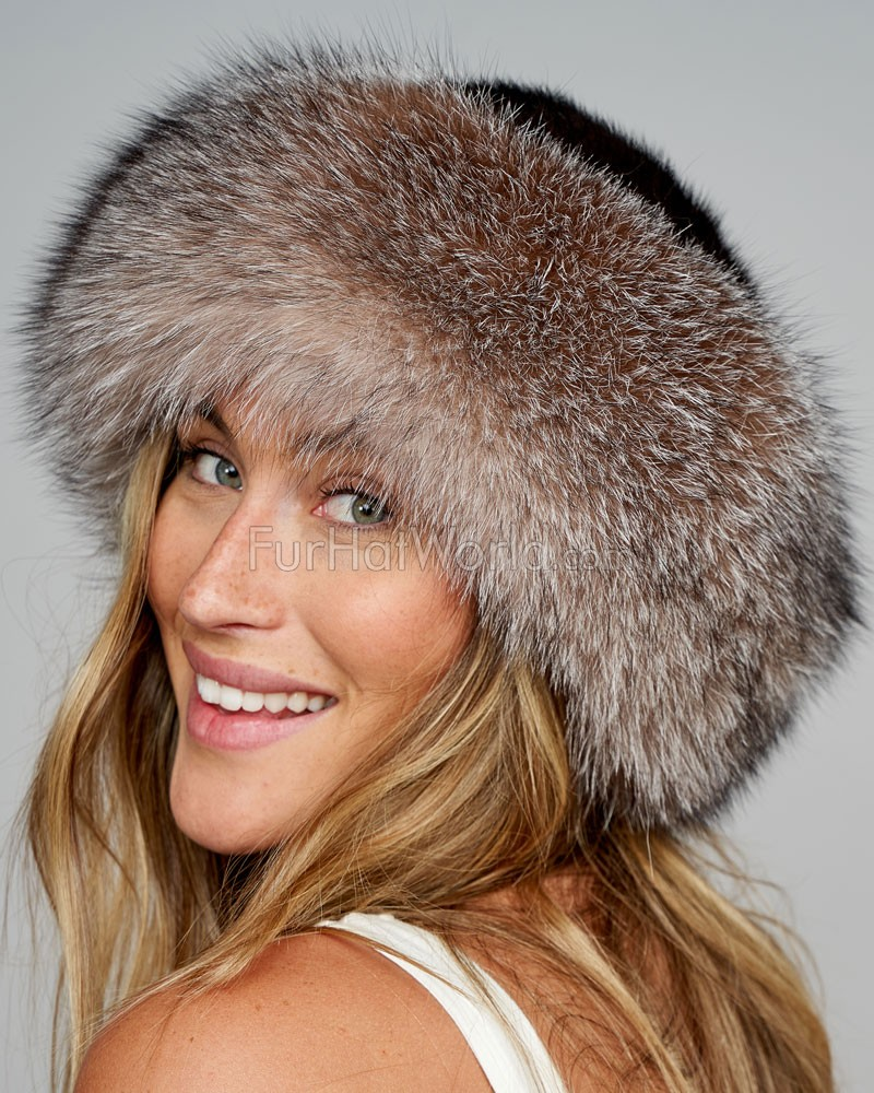 Crystal Fox Fur Roller Hat with Mink Top