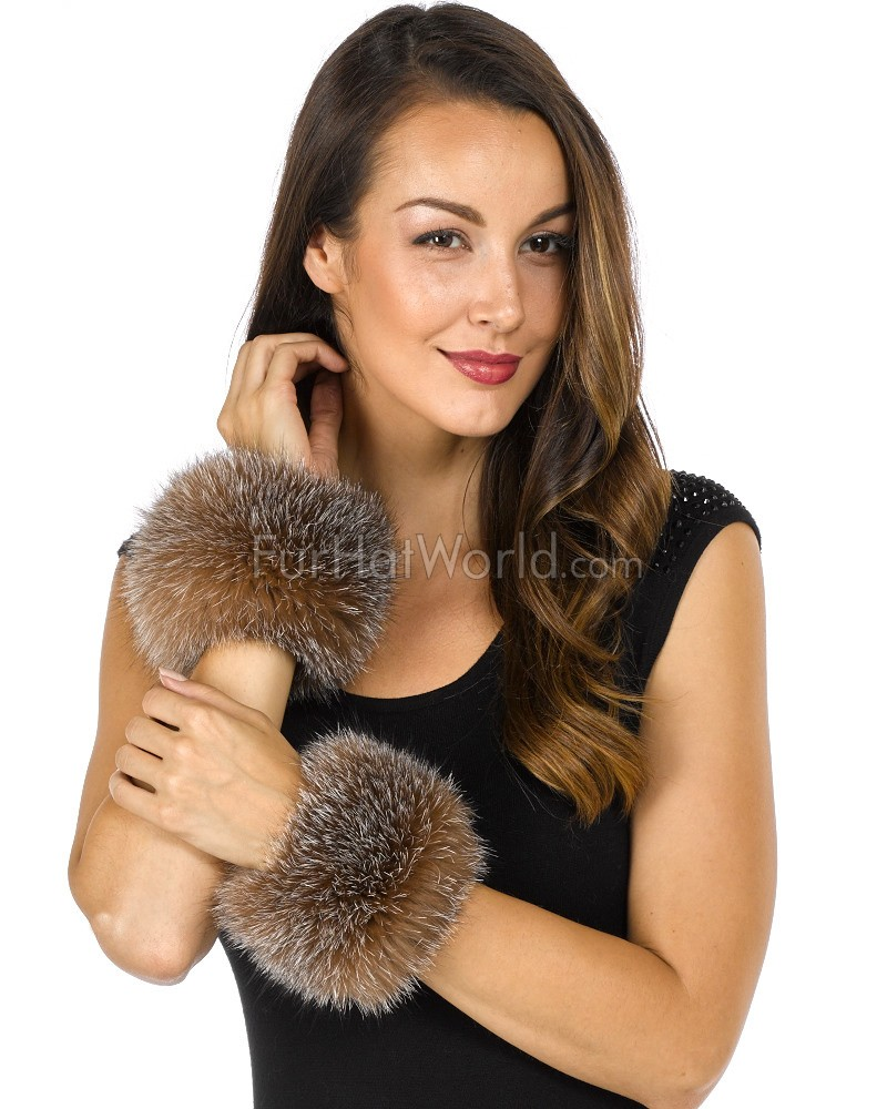 Bridget Crystal Wide Fox Fur Slap on Cuffs