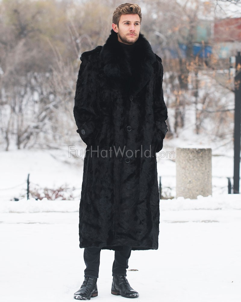 Dean Black Mink Full Length Men's Overcoat With Fox Fur Collar
