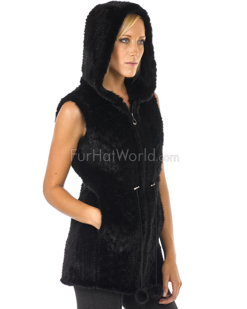 Denmark Knit  Mink Fur Vest with Hood - Black
