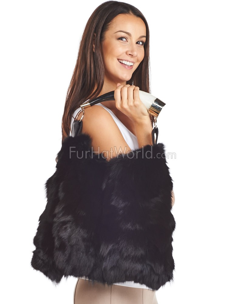 Dominique Black Fox Fur Purse with Horn Handle  FurHatWorld.com be7de51c8