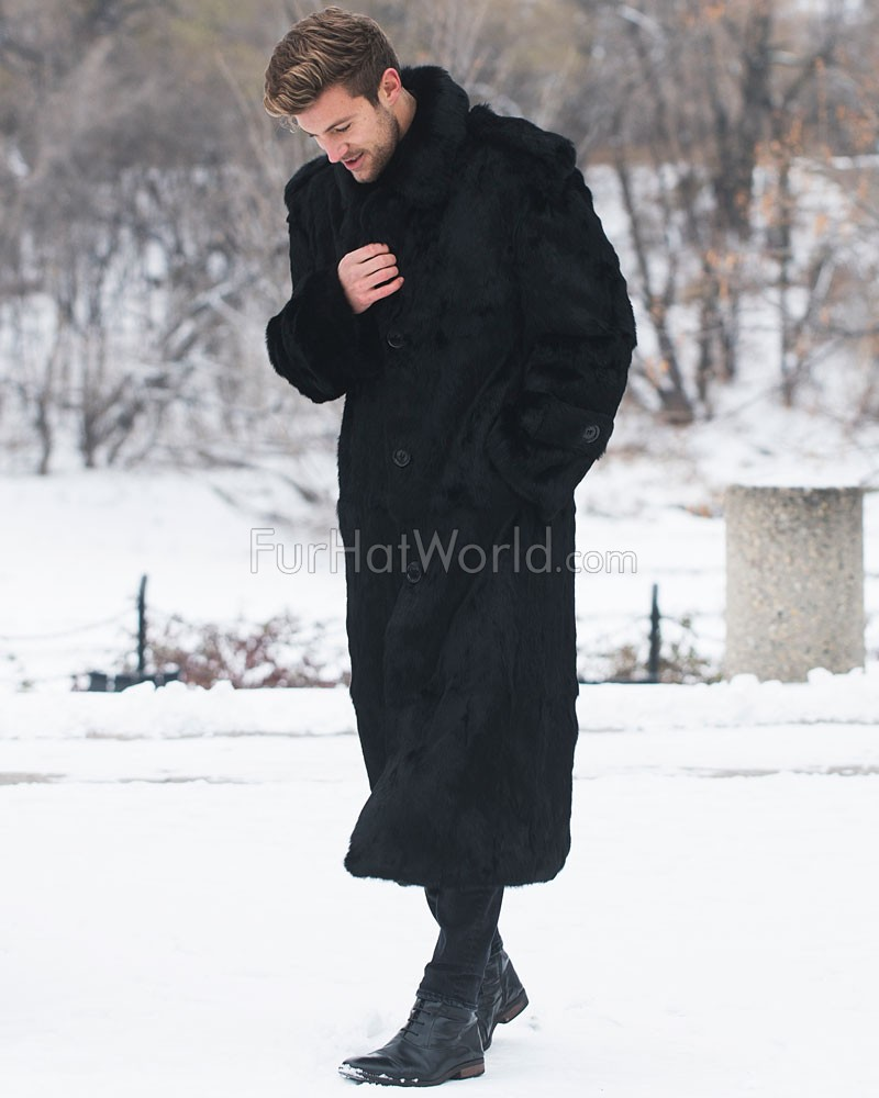 Donald Black Rabbit Full Length Overcoat For Men