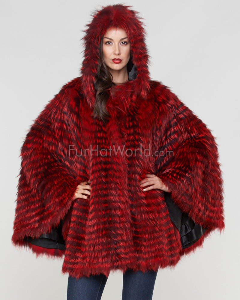 Dorris Fox Fur Hooded Cape in Cherry Red