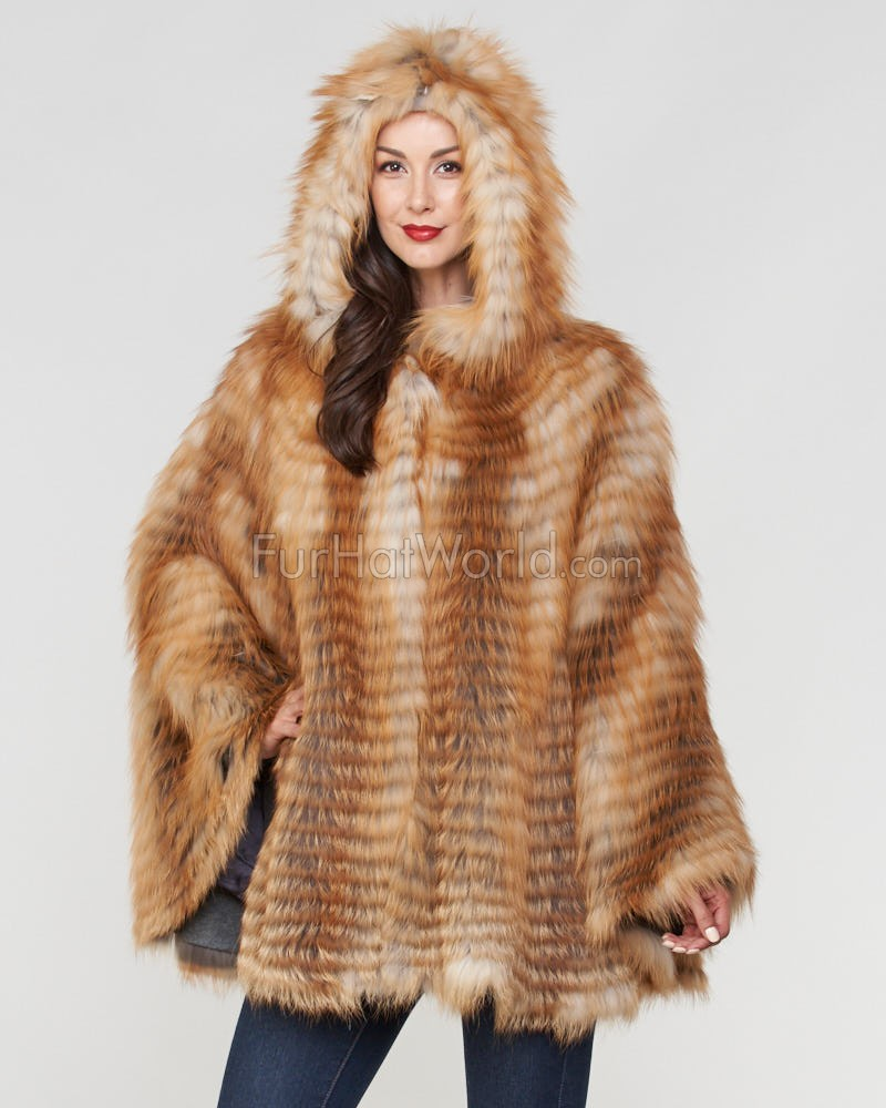 Dorris Red Fox Fur Hooded Cape