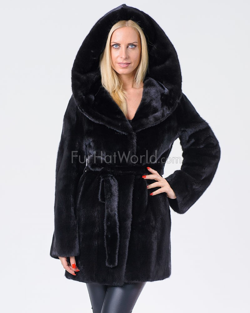 Elisa Black Hooded Mink Coat
