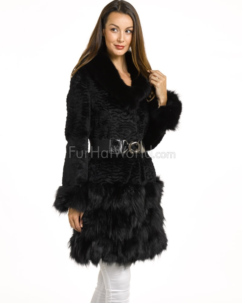 Embossed Rabbit Fur Coat with Fox Fur Trim - Black