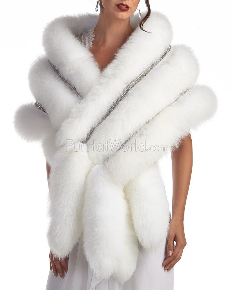 Esmeralda white stole with swarovski crystals and fox tail - Polsterstoffe fur stuhle ...