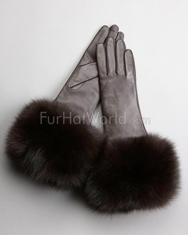 Extra-long Fox Fur Trim Leather Gloves - Cashmere Lined