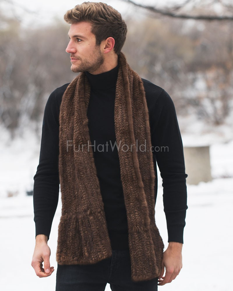 Calvin Knit Mink Fur Scarf For Men in Demibuff