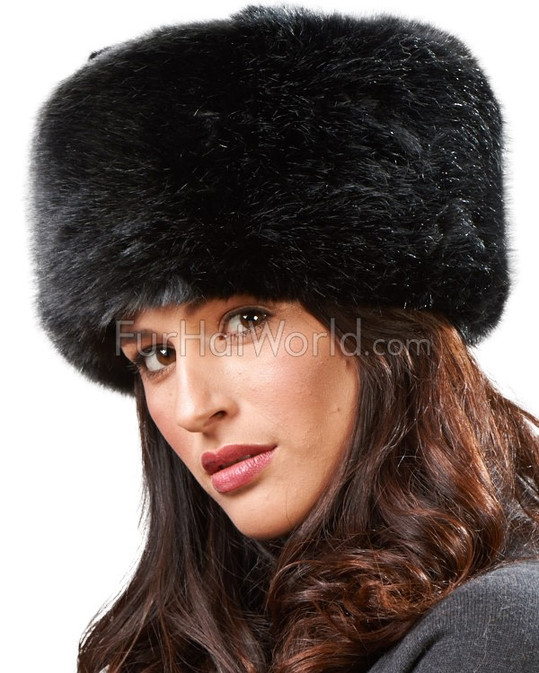 Zhivago Pill Box Faux Fur Hat in Black