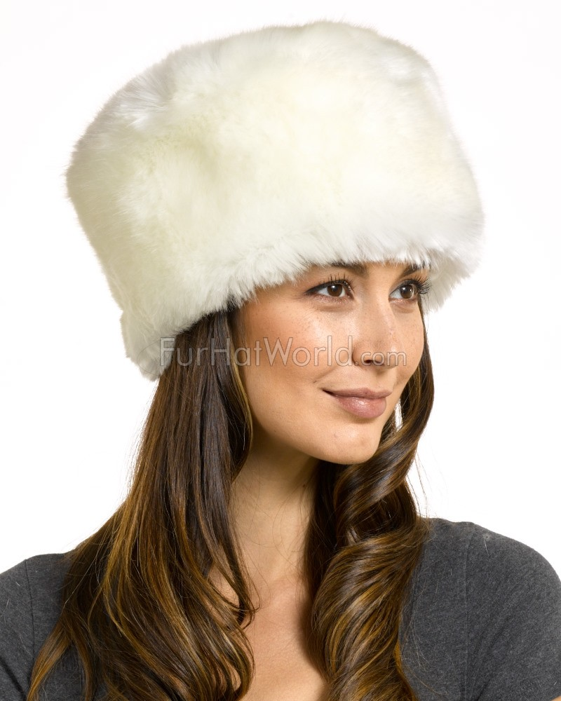 Faux Fur All Fur Zhivago Pill Box Hat - White