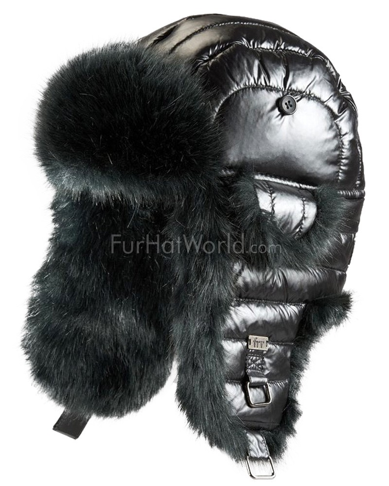 Black Faux Fur Puffer Hat