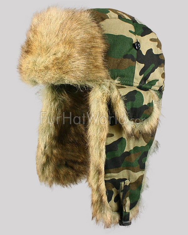 Faux Fur Camouflage Aviator Hat - Natural