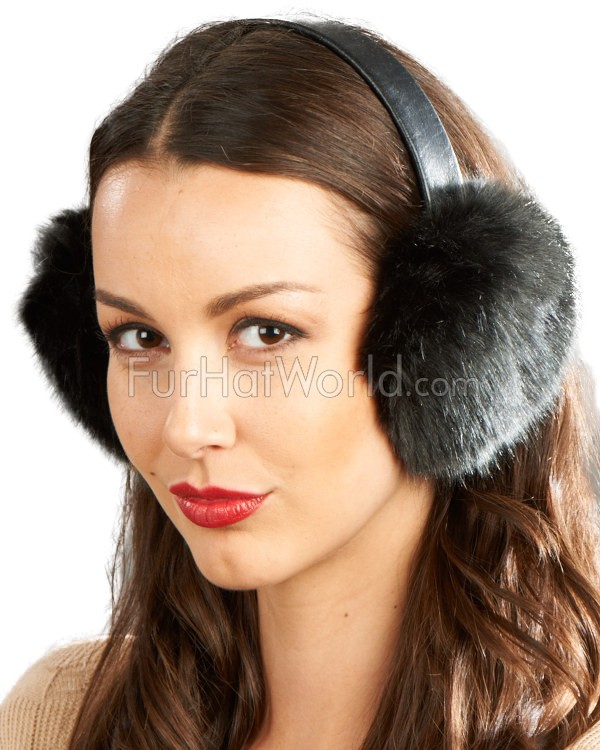 Faux Fur Earmuffs with Leather Band - Black