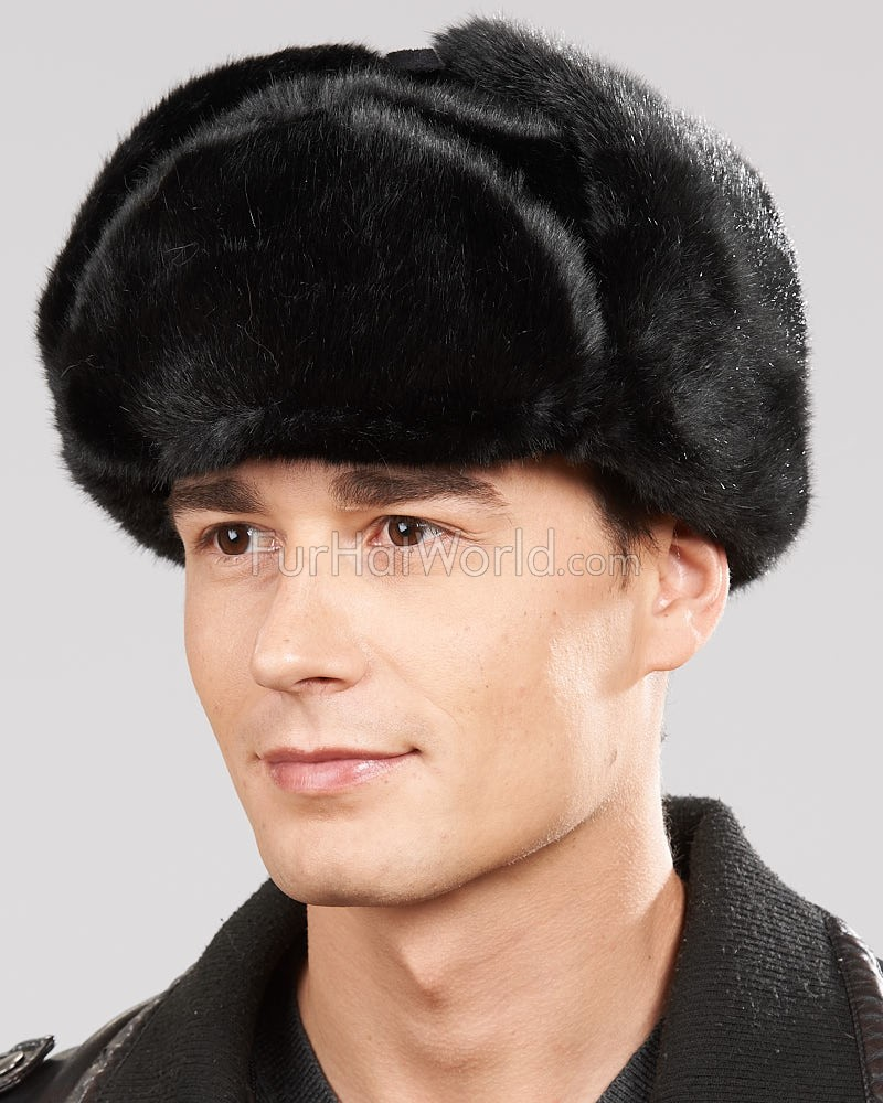 Faux Fur Russian Ushanka Hat - Black