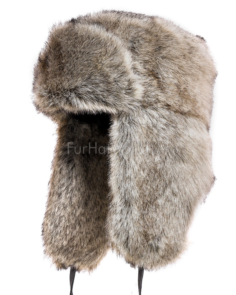 Faux Fur Russian Ushanka Hat - Gray