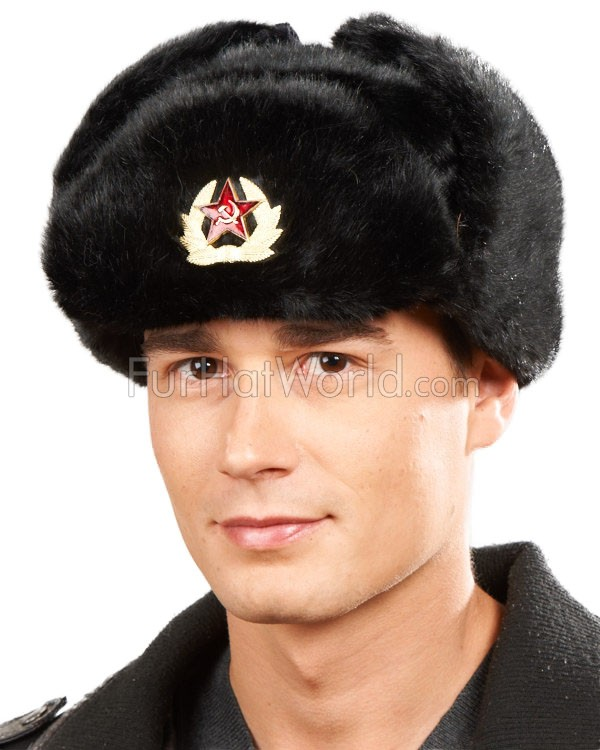 faux fur russian ushanka hat with badge furhatworldcom