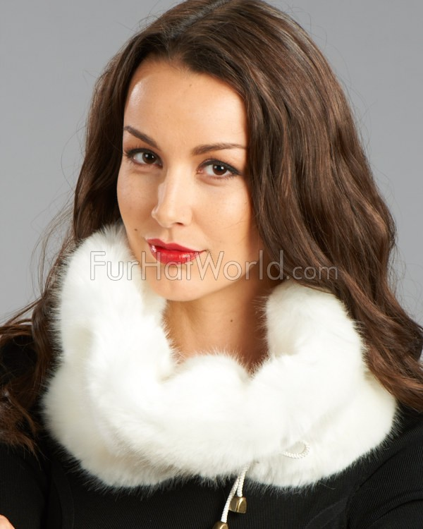 Faux Fur Snood with Drawstring - White