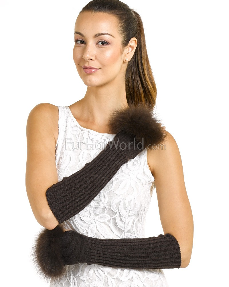 Adrienne Fingerless Fox Fur Trim Knit Gloves