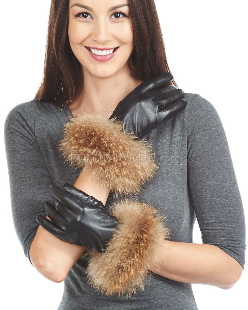 Finn Raccoon Fur Trim Leather Gloves - Cashmere Lined