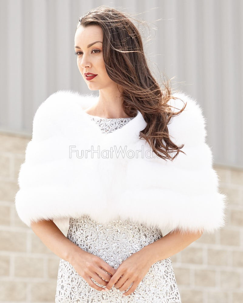 The Fiona White Four Tier Fox Fur Stole